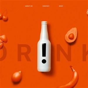 创意水果饮料瓶包装设计样机