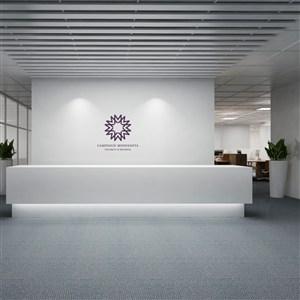 公司形象墙背景PS样机模板