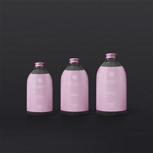 粉红色玻璃护肤品瓶包装样机模板