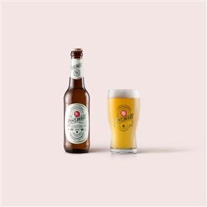 啤酒瓶和啤酒杯包装设计样机