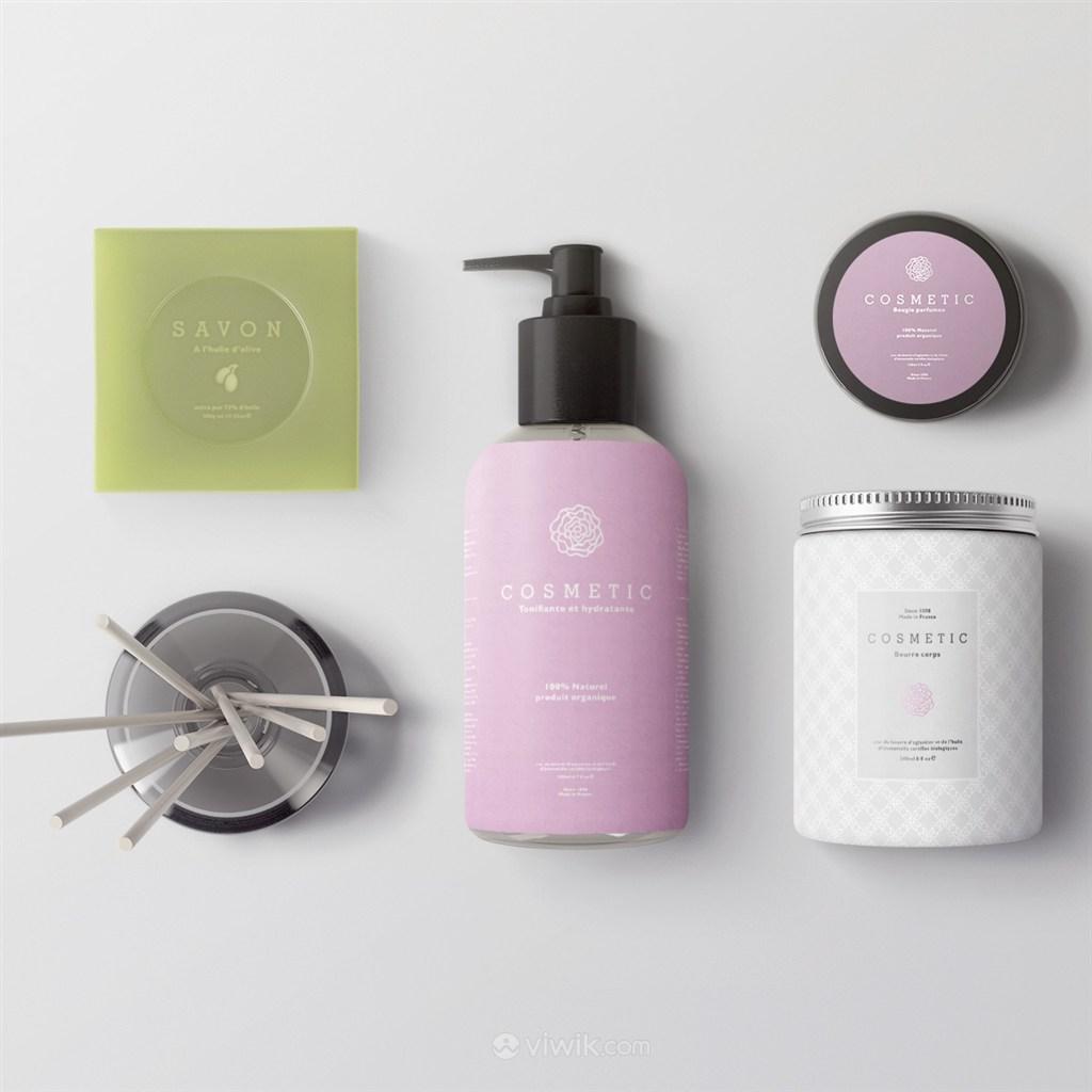 护肤品乳液香皂包装模板贴图