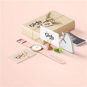 时尚粉嫩化妆品包装设计模板