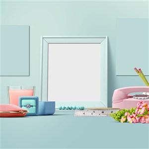 蓝绿色时尚化妆品包装设计样机模板