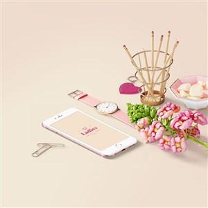 时尚粉嫩手机手表包装设计样机模板