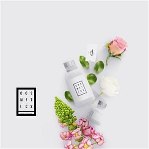 粉嫩時尚化妝品護膚品包裝設計樣機