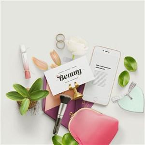 清新时尚化妆品包装设计样机模板