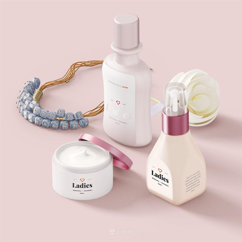 时尚粉嫩化妆品包装设计样机模板