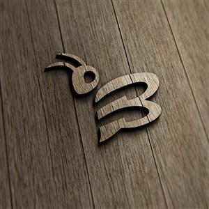 立体木纹LOGO标志PS千图样机模板