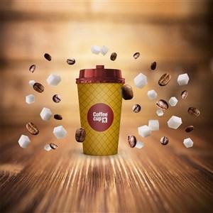 咖啡杯融图千图样机模板