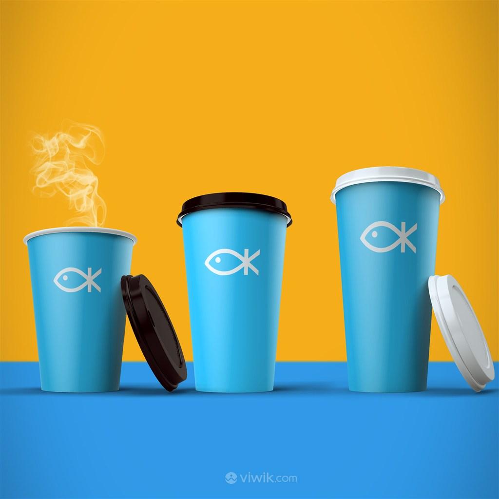 大中小杯咖啡杯PS融图千图样机模板