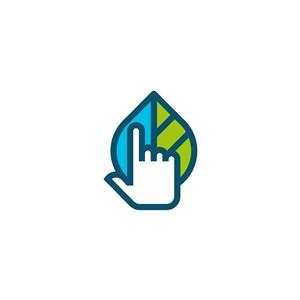 手樹葉水矢量logo素材