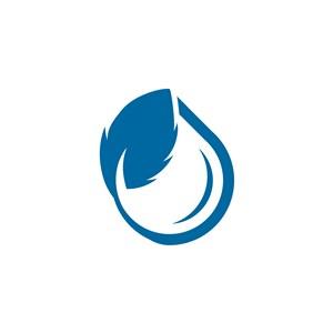 藍色水滴樹葉矢量logo素材