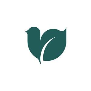 綠色樹葉小鳥矢量logo元素