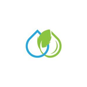 藍綠色水滴葉子矢量標志