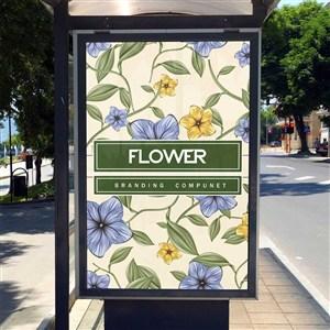 公交站牌海报样机模板