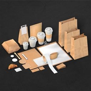 咖啡厅VI物料样机模板