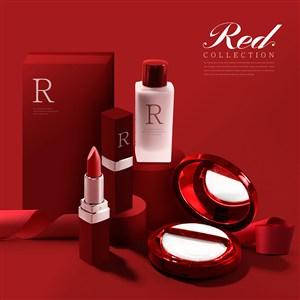 紅色化妝品海報模板