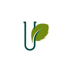 U字树叶矢量logo素材