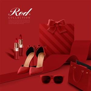 精美红色礼物海报模板