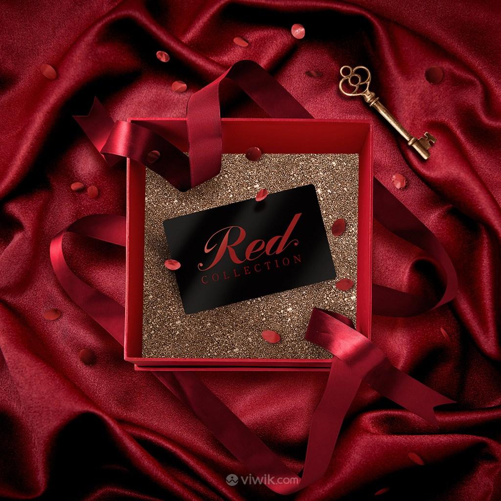 红色礼盒海报模板