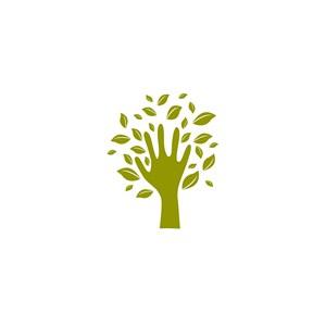 綠色手樹葉矢量logo元素