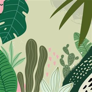 卡通植物矢量背景素材