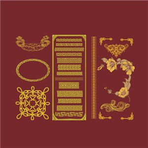 矢量中式古典花纹底纹素材