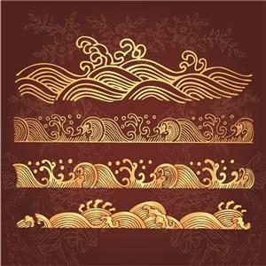 矢量中式水波紋圖案