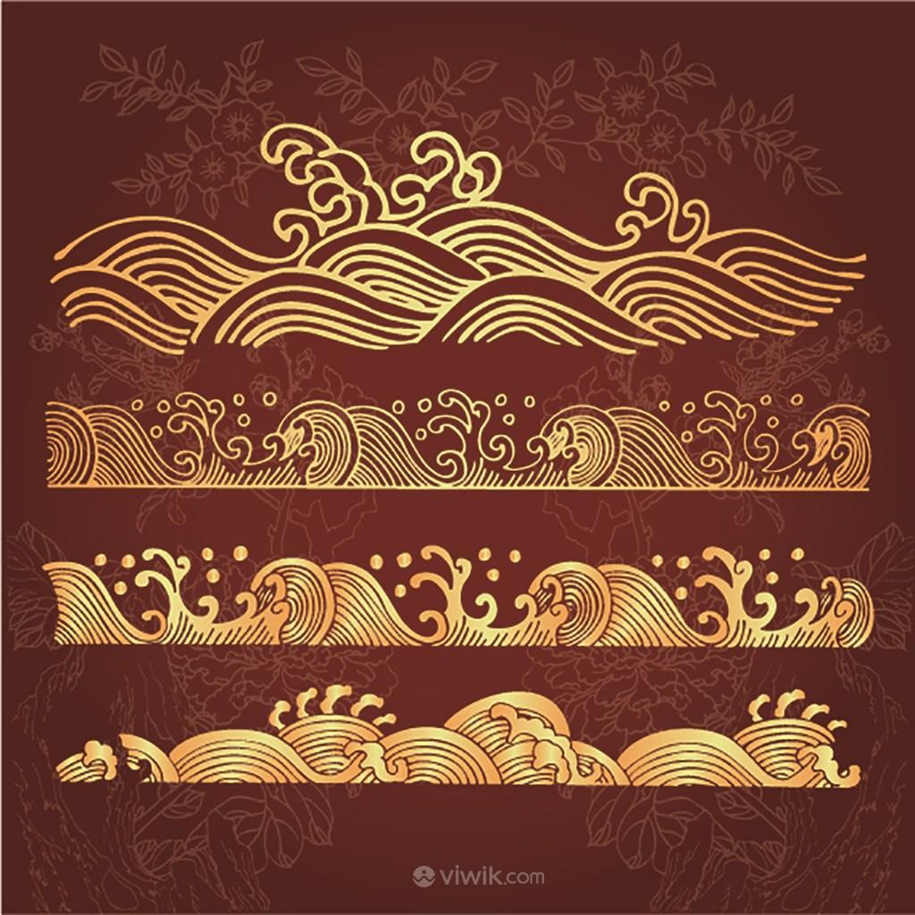 矢量中式水波纹图案