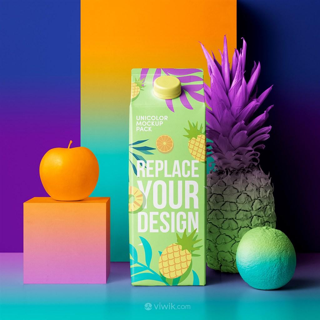 时尚创意果汁饮料包装PS样机