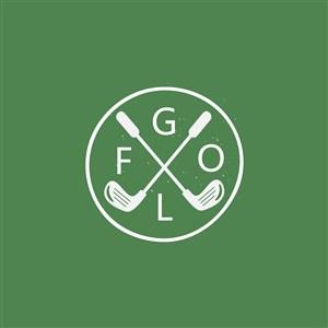 高尔夫球练习场球杆logo素材