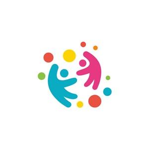 兒童圓點logo素材