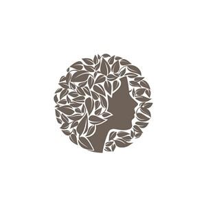 女人頭樹葉logo素材