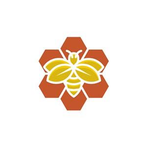 蜜蜂幾何圖案logo素材