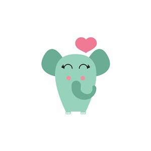 大象爱心logo素材