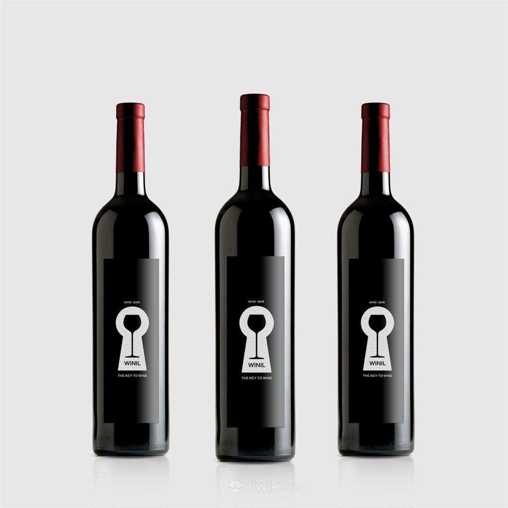 红酒瓶样机效果图