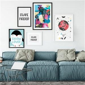 沙发背景墙装饰画画框样机