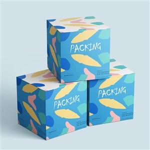 涂鸦贴图时尚化妆品包装盒样机