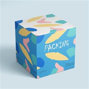 方形紙盒包裝貼圖樣機時尚包裝設計樣機