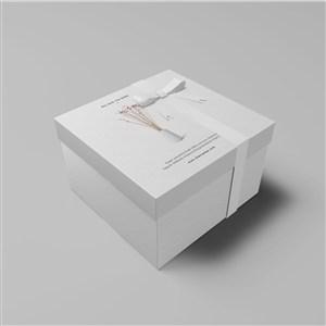 礼品包装盒贴图样机简约包装盒设计样机