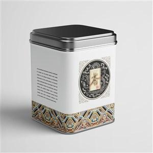 复古茶叶包装贴图茶叶铁罐包装样机