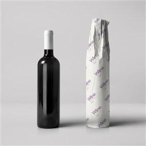 红酒包装红酒瓶包装纸样机模板