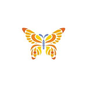 彩色蝴蝶服裝公司矢量logo設計素材