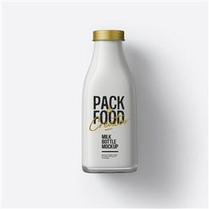玻璃瓶装牛奶包装样机