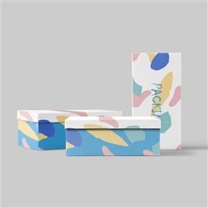 白底涂鴉時尚包裝盒禮品盒樣機