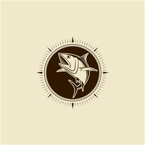 魚圖標垂釣旅游矢量logo素材