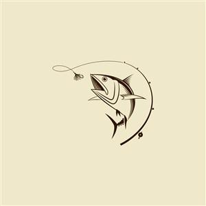 垂釣俱樂部矢量logo設計素材釣魚圖標