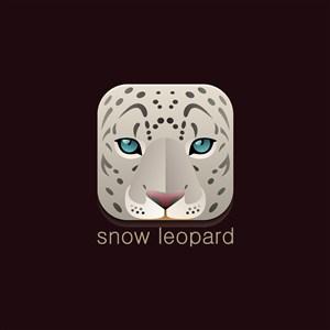 雪豹矢量图标野生动物保护基地矢量logo素材