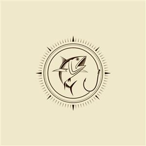 趣味釣魚活動垂釣俱樂部矢量logo素材