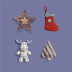 麋鹿袜子星星圣诞树样机素材